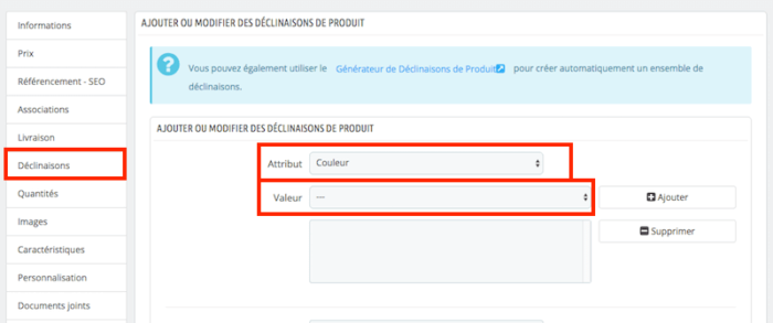 creer site ecommerce prestashop catalogue produits gerer declinaisons